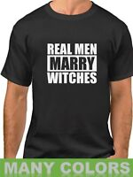 Real Men Marry Witches Shirt Funny T-Shirt Halloween Tee Husband Gift Witch Wife