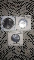 LOT OF 3 FRENCH POLYNESIA COINS: 50 FRANCS, 5 FRANCS, 2 FRANCS: 1965, 1975