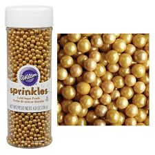 Wilton Sugar Pearls Sprinkles 4.8oz edible iridescent -Gold- cake decorating