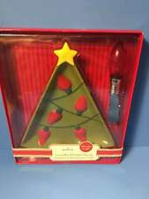 New Hallmark Christmas Tree Serving Dish With Lighted Bulb Dip Cheese Spreader
