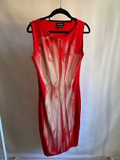 Isabel De Pedro Red Graphic Pattern Stretch Pencil Shape Midi Length Dress UK 12