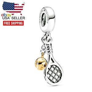 Authentic Pandora Sterling Silver 925 769026C01 Tennis Racket Ball Dangle Charm