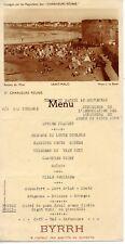 MENU PUBLICITAIRE BYRRH / SAINT MALO CROISIERE AUDITEURS RADIO 10 SEPTEMBRE 1938