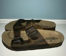 NEW AMERICAN EAGLE OUTFITTERS MEN'S BROWN LEATHER DOUBLE BUCKLE SANDALS US 11