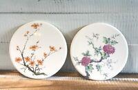 Set of 2 Vintage Round HYALYN Tile Trivet #507 USA - Floral Flowers