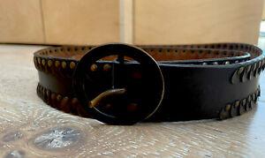 Dark Brown Leather Belt With Metal Trim DESIGNER ITEM