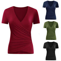 Women's Short Sleeve Side Wrap T Shirt Ruched Shirred Slim Fit V-neck Top Blouse
