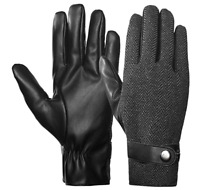 Mens Winter Gloves Thermal TouchScreen Leather Warm Wool Driving Running Liner G