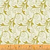 Deck the Halls~Christmas Gold Scroll Cotton Fabric by Windham Fabrics