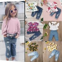 Toddler Kids Baby Girls Outfits Clothes Long Sleeve T-Shirt+Hole Jeans Pants Set