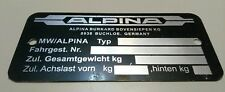 BMW E21 E12 E28 E24 E9 E3 NK 320i 323i 2002 TII A4 C1 B6 B7 B9 B10 Alpina Plate