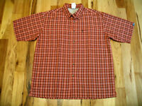The North Face Orange Polyester Blend Button Up Short Sleeve Casual Shirt Mens L