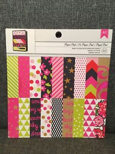 American Crafts 6x6 Pads-Card Making 30 Sheets PINK & LIME Patterned Paper New