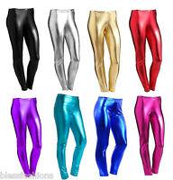 WOMENS WET LOOK METALLIC LEGGINGS LADIES FOIL SHINY PLUS SIZE GIRLS 8-26 3-13YRS