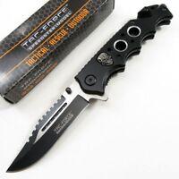 SPRING ASSIST FOLDING POCKET KNIFE Tac Force Black Skull Rescue Tactical TF809BK