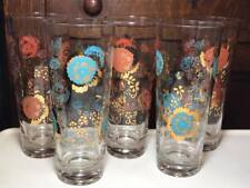 Set of 5 Mid Century Floral Drinking Glasses