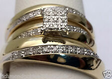 10kt Yellow Gold His Hers Men Woman 0.15 ct Diamonds Pave Wedding Ring Trio Set