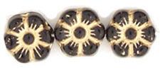 14 Black W Gold Inlay Czech Glass Flower Beads 8MM