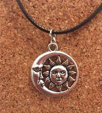 Silver Plated Half Moon Sun Eclipse Pendant Choker Chocker Necklace Free Postage