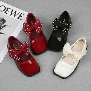 Child Kids Girls Beaded Pearls Bowknot Princess Party School Dress Shoes Pumps