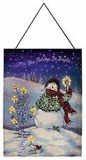 Flake Snowman Fiber Optic Tapestry Bannerette May Your Holidays Be by Manual WW