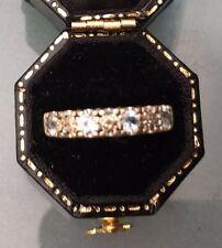 Women's 9ct Gold Eternity Style Ring Diamond & Topaz Stones Size L 1/2 W2.14g