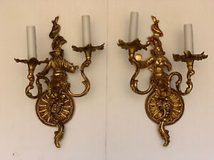 PAIR Gilt Brass French Figural Chinoiserie Rococo Wall Sconce Sconces Oriental