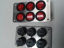 Schalterpanel 6x Ein-Aus Schalter 230V Edelstahlblende matt NEU (S2)