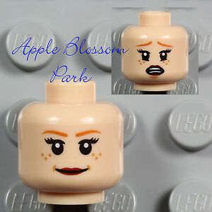 NEW Lego Light Flesh FEMALE MINIFIG HEAD -Girl Woman Red Lips Leia Tamina Smile