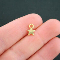 20 Star Charms Gold Tone 2 Sided Tiny Size - GC722