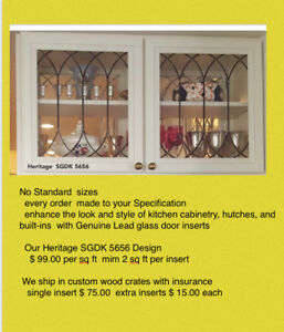 Heritage Kitchen Cabinet Glass Door Inserts For  Existing or new Cabinets