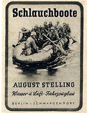 August Stelling Berlin SCHLAUCHBOOTE  Historische Reklame der 40er Jahre