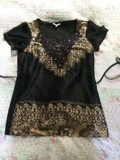 Beautiful PER UNA Beaded Long Top/ Blouse-size 14. Black/ Gold Bronze Worn Once