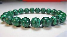 "Genuine MALACHITE bead bracelet for MEN WOMEN Stretch AAA Quality 10mm 7.5"" inch"