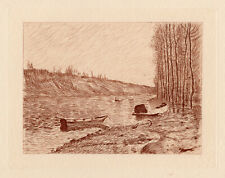 """Impressive 1892 Alfred SISLEY LIMITED Etching """"Morning by the River"""" Framed COA"""