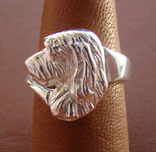 Sterling Silver Petite Basset Griffon Vendeen Head Study Ring