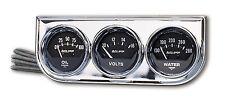 Auto Meter AutoGage 3-Gauge Chrome Console 52mm Oil Pressure / Water Temp / Volt