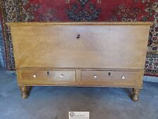 Antique 1800's Pennsylvania Painted Feather Grain Dower Blanket Chest