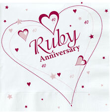18  Ruby Wedding Napkins Red 40th Anniversary Napkins Serviettes Party Tableware