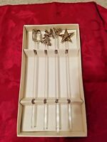 Set/4 Clear Blown Glass Cocktail Stirrers Gold Trim Holiday Star Tree Bell Gift