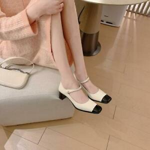 Women Vintage ankle strap Chunky Heels Leather Mary Jane Square Toe Shoes