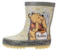 Winnie The Pooh Grey Yellow Wellies Wellington Rubber Boots UK Child Sizes 5-10