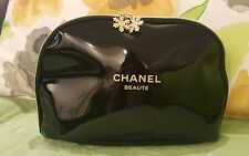 JUMBO Large Chanel Beaute Snowflake charms Cosmetic Makeup Bag patent leather