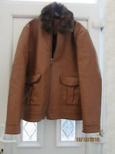 NEW TAN MENS FAUX LEATHER ZIPPED JACKET SIZE LARGE RIVER ISLAND