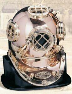 Deluxe Mark V Dive Helmet With a Wooden Base, Copper Antique Scuba Divers Diving