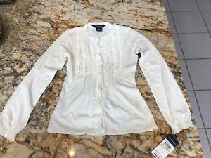 NWT Ralph Lauren girls blouse top S(7) white long sleeve