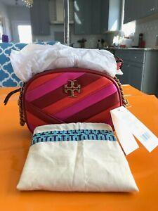 Tory Burch Kira Chevron Color-Block Small Camera Bag 61628 Red / Pink