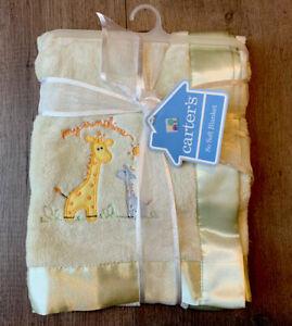 CARTER'S Green MY SUNSHINE Giraffe Blanket Lovey Satin Edges Fleece Unisex NEW