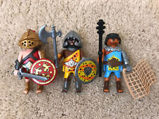 Playmobil 3 Roman Gladiator Soldier Warrior Figures With Weapons Lot VGUC
