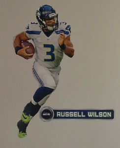 """Russell Wilson FATHEAD Player Graphic 29""""x13"""" +Seahawks Name Sign 16"""" NFL Decal"""